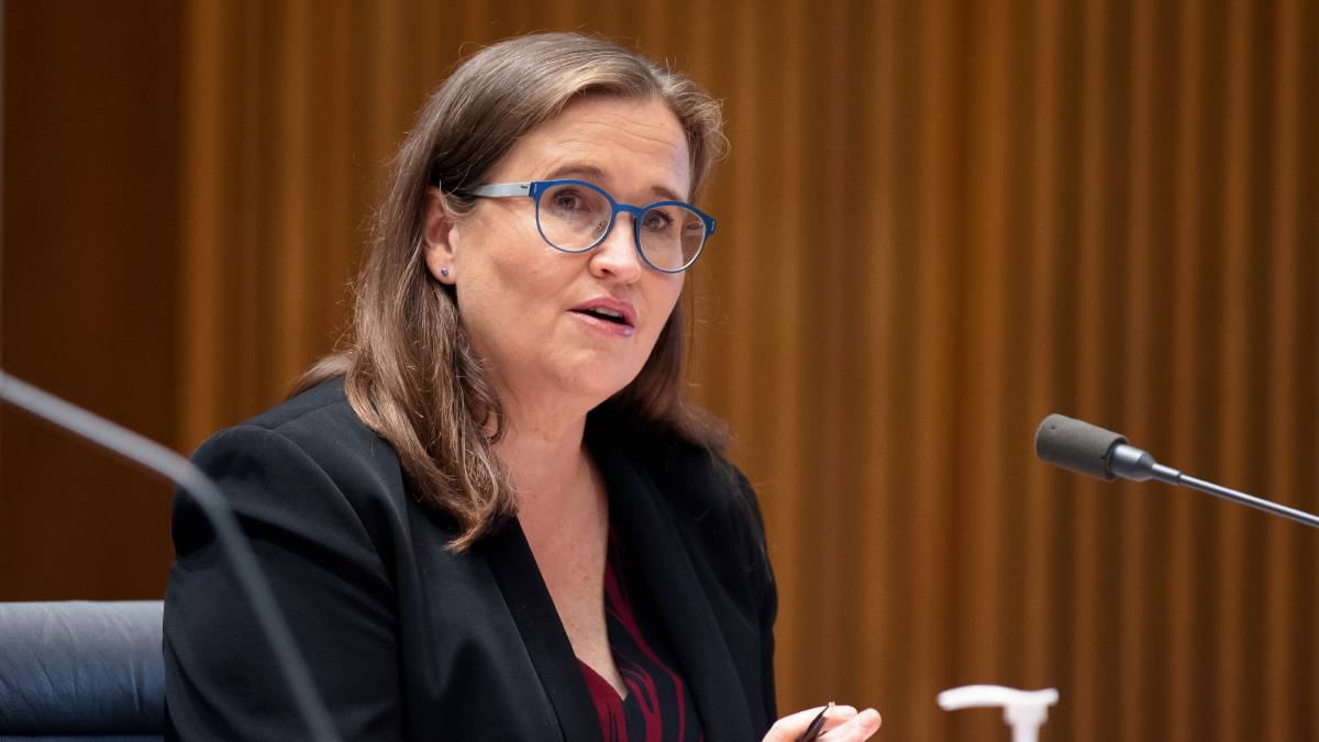 Sex Discrimination Commissioner Kate Jenkins at Senate Estimates on Tuesday. Picture: Sitthixay Ditthavong