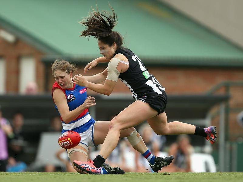 Magpie Jordan Membrey (r) is one of three AFLW players sidelined by an ACL injury in round five.