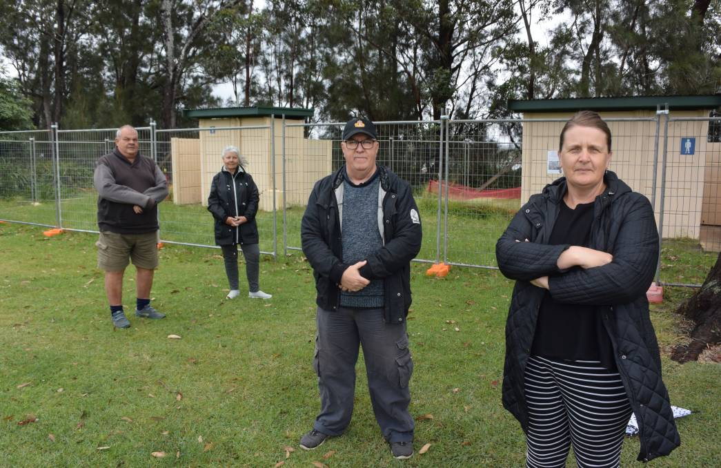 Chris Perrin, Suzi, Stew Craig and Tracy Surace say public toilets at McDonald Parade Reserve are needed.