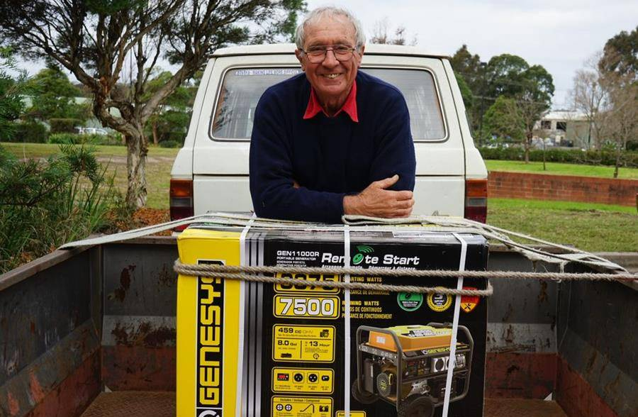 John Fisher is one of 13 people who recently received a generator through GIVIT, following the fire damage to his property in Illaroo on January 4.